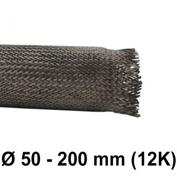 Carbon braided Sleeve 12K (D= 156 mm at 45°) | HP-BSC156/144/12
