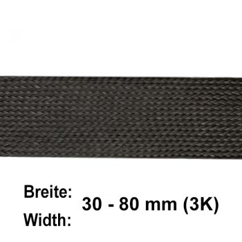 Carbon Fibre Flat Braid 3K (width at 45° ca. 63 mm) | HP-BFC063/65/3