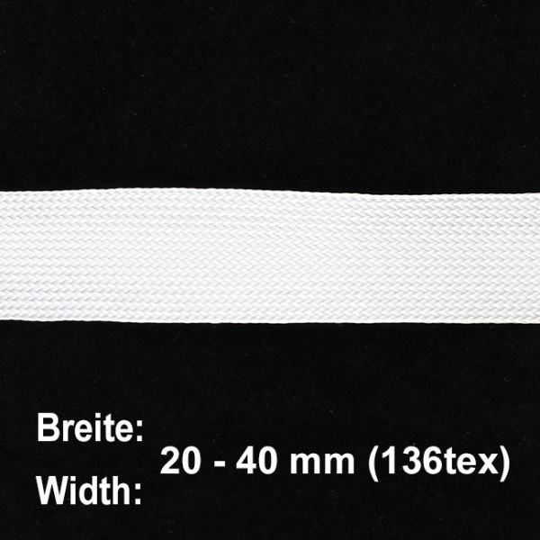 E-Glass Fiber Flat Braid 136tex (width at 45° ca. 36 mm) | HP-BFE036/65