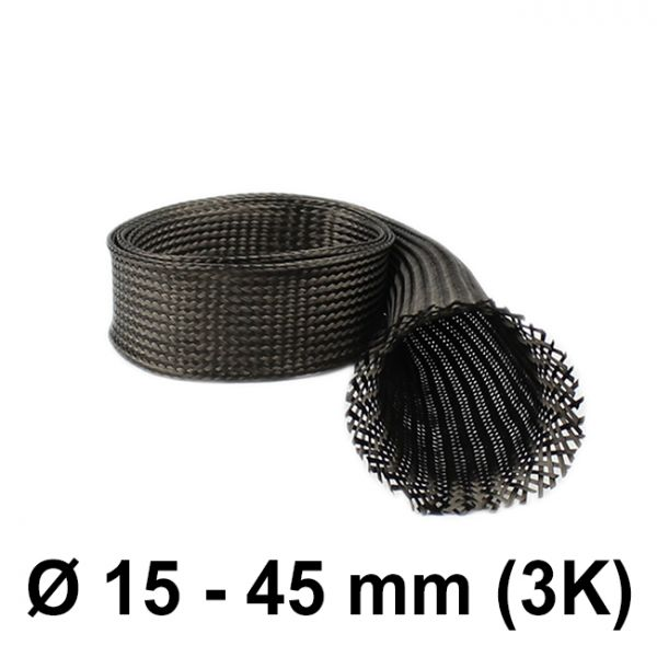 Carbon braided Sleeve 3K (D= 35 mm at 45°) | HP-BSC035/96/3